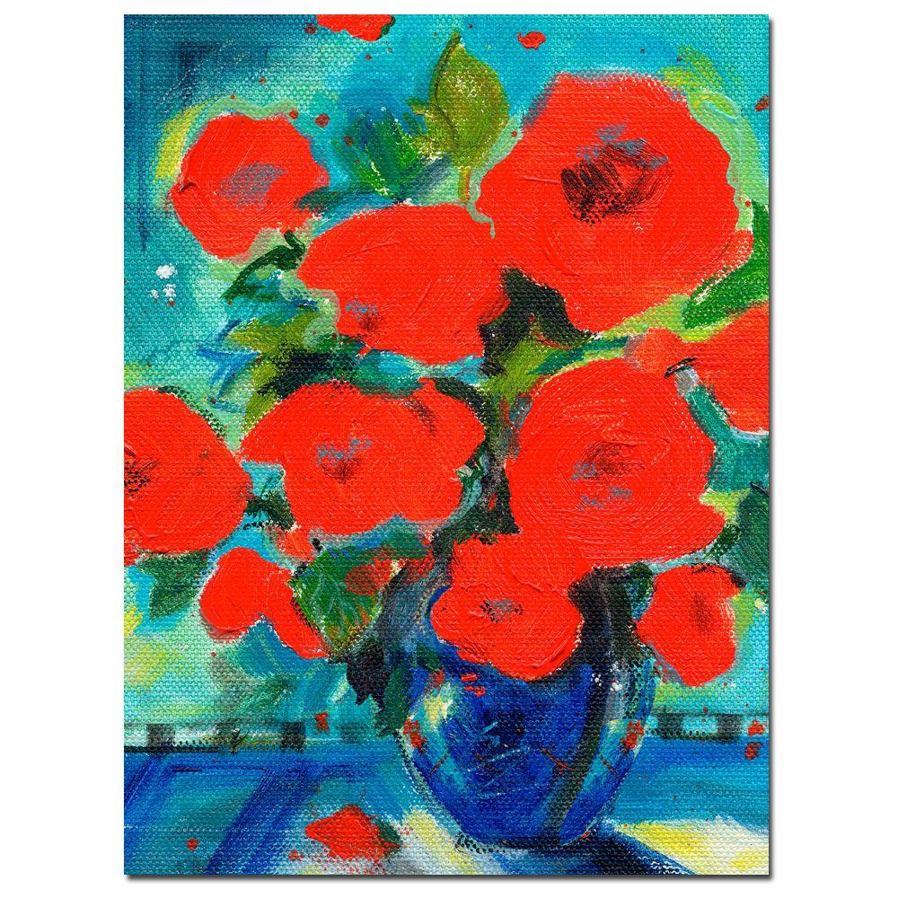 24 in. x 32 in. Cobalt Vase with Red Blossoms Canvas
