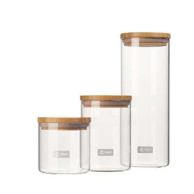 3-Piece Glass and Bamboo Canister Set - B
