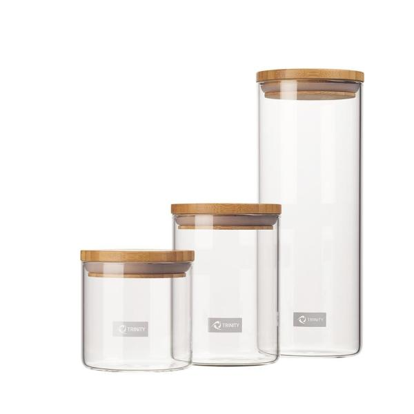 f6b7aacdb27c Trinity 3-Piece Glass and Bamboo Canister Set - B TKD-2809 - The ...