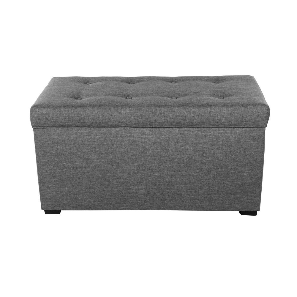Angela HJM100 Gray Button Tufted Upholstered Storage Trunk