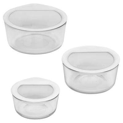 Ultimate Storage 6-Piece Round Glass Storage Set with White Lids