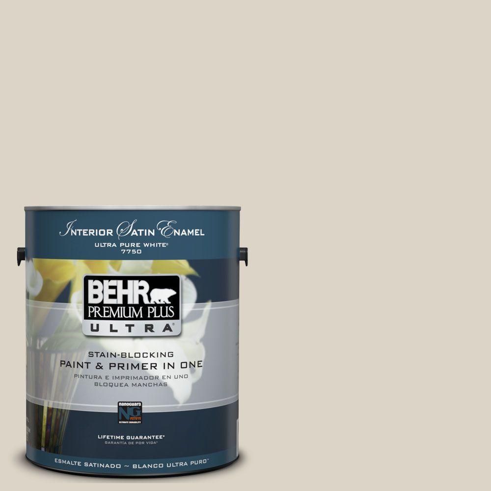 BEHR Premium Plus Ultra 1-Gal. #UL170-14 Canvas Tan Interior Satin Enamel Paint