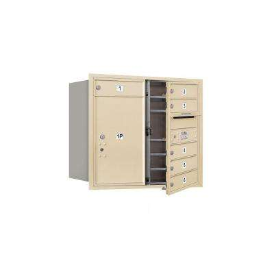 3700 Series 27 in. 7 Door High Unit Sandstone Private Front Loading 4C Horizontal Mailbox with 6 MB1 Doors/1 PL6