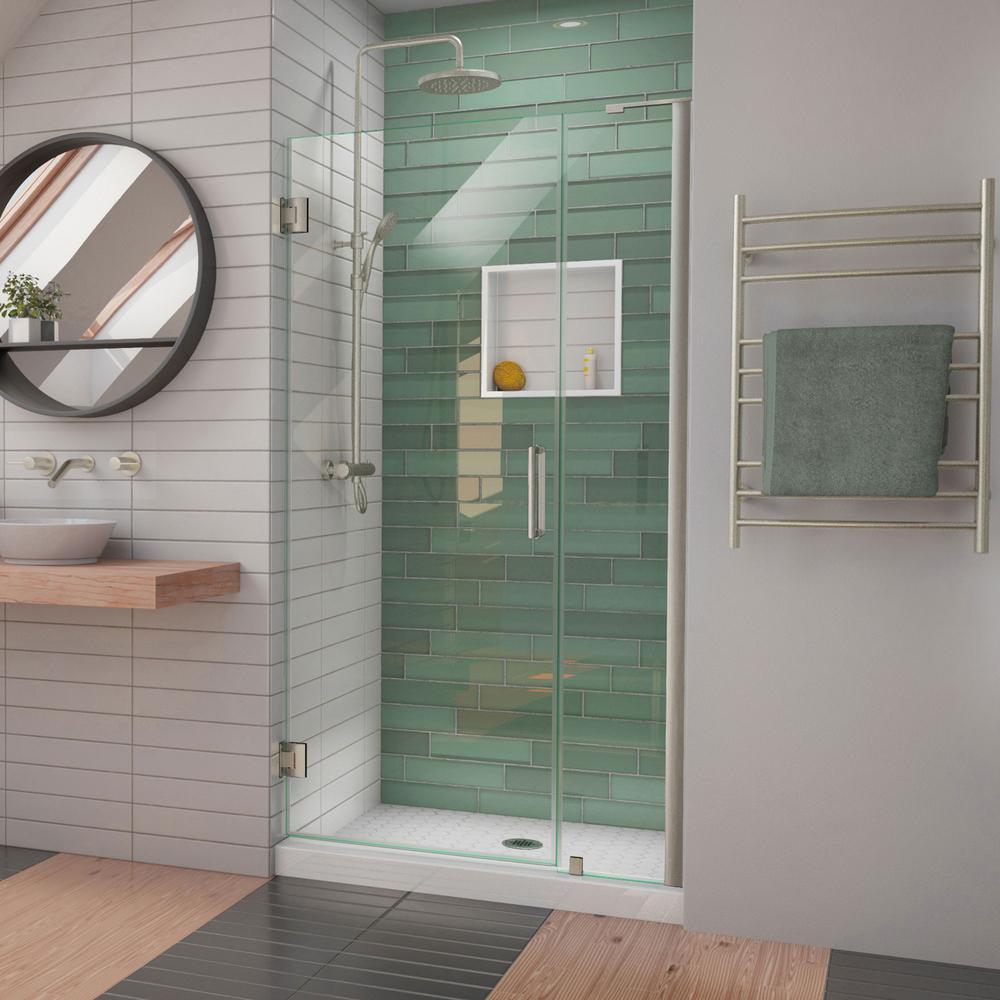 Unidoor-LS 38-39 in. W x 72 in. H Frameless Hinged Shower Door in Brushed Nickel