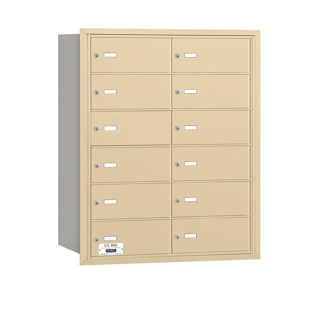 Salsbury Industries 3600 Series Sandstone Private Rear Loading 4B Plus Horizontal Mailbox with 2B Doors