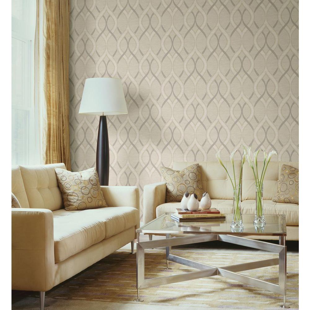 Frequency Beige Ogee Wallpaper Sample