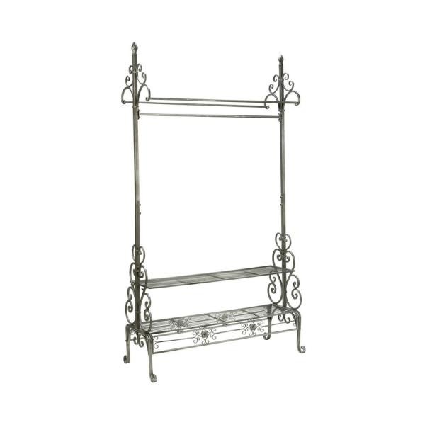 40 in. W x 71.5 in. H Gray Metal Clothes Rack with Shelves