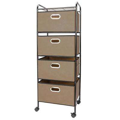 Non-Woven 4-Tier Fabric Drawer Carbon Steel Stoving Varnish Pipes Storage Cart in Black