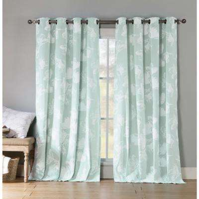 Aster 84 in. L Polycotton Grommet Panel in Icy Blue (2-Pack)