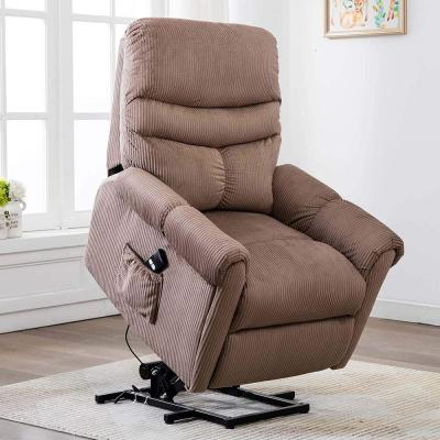 Sturdy Tan Power Lift Recliner Chair for Safety Motion Reclining Mechanism-Antiskid Fabric Sofa Chair with Overstuffed