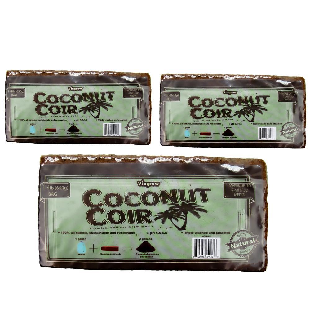 1.4 lbs. Premium Soilless Coconut Coir Brick Grow Media (3-Pack)