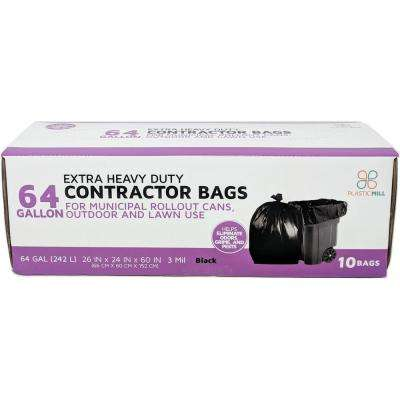 50 in. W x 60 in. H. 64 Gal. 3 mil Black Contractor Bags (10-Case)