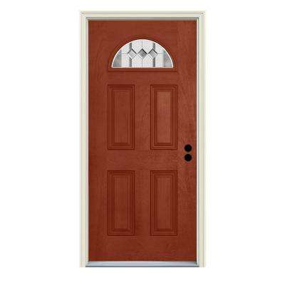 36 in. x 80 in. Left-Hand Fan-Lite Auburn Amaretto Stained Fiberglass Prehung Front Door with Brickmould
