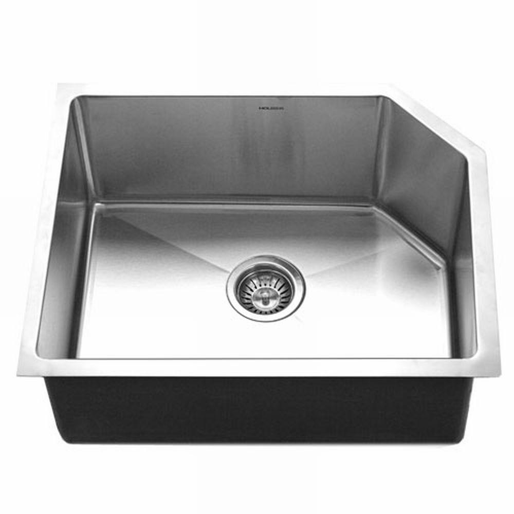 HOUZER Homestead Undermount Stainless Steel 31.87 x 8 x 31.87 Single Basin Kitchen Sink-DISCONTINUED