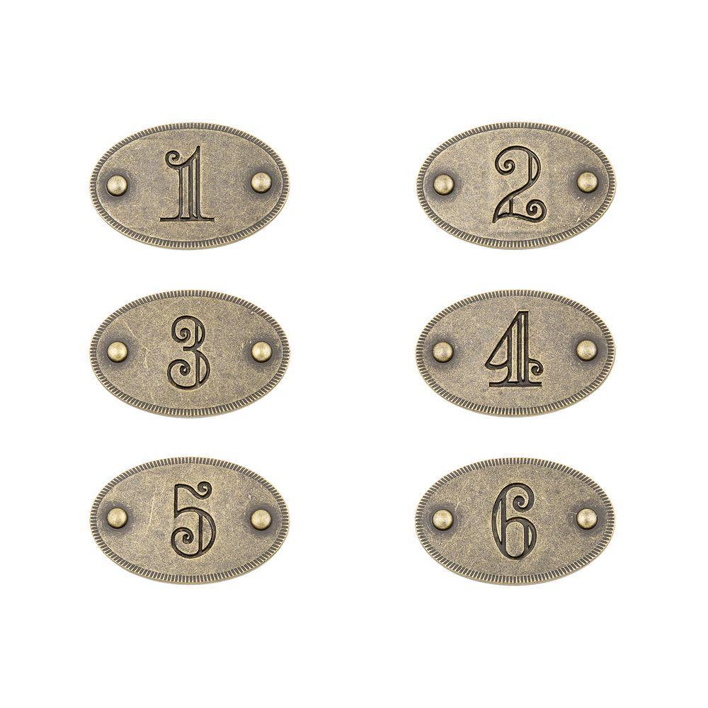1-3/4 in. Antique Brass Drawer Number