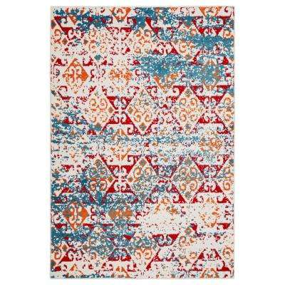 Fusion White/Blue 7 ft. 9 in. x 9 ft. 5 in. Indoor Area Rug
