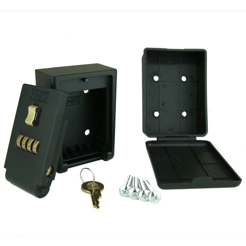 NUSET 4-Number Combination Lockbox Wall Mount Key Storage Lock Box-2050-3 -  The Home Depot