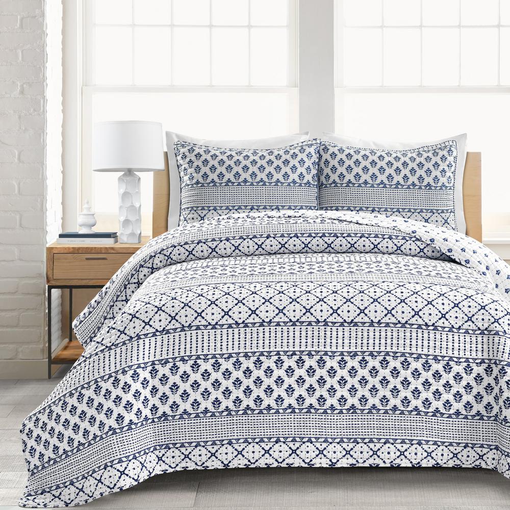3-Piece 320-Thread Count Monique Stripe Navy/White King Polyester Quilt