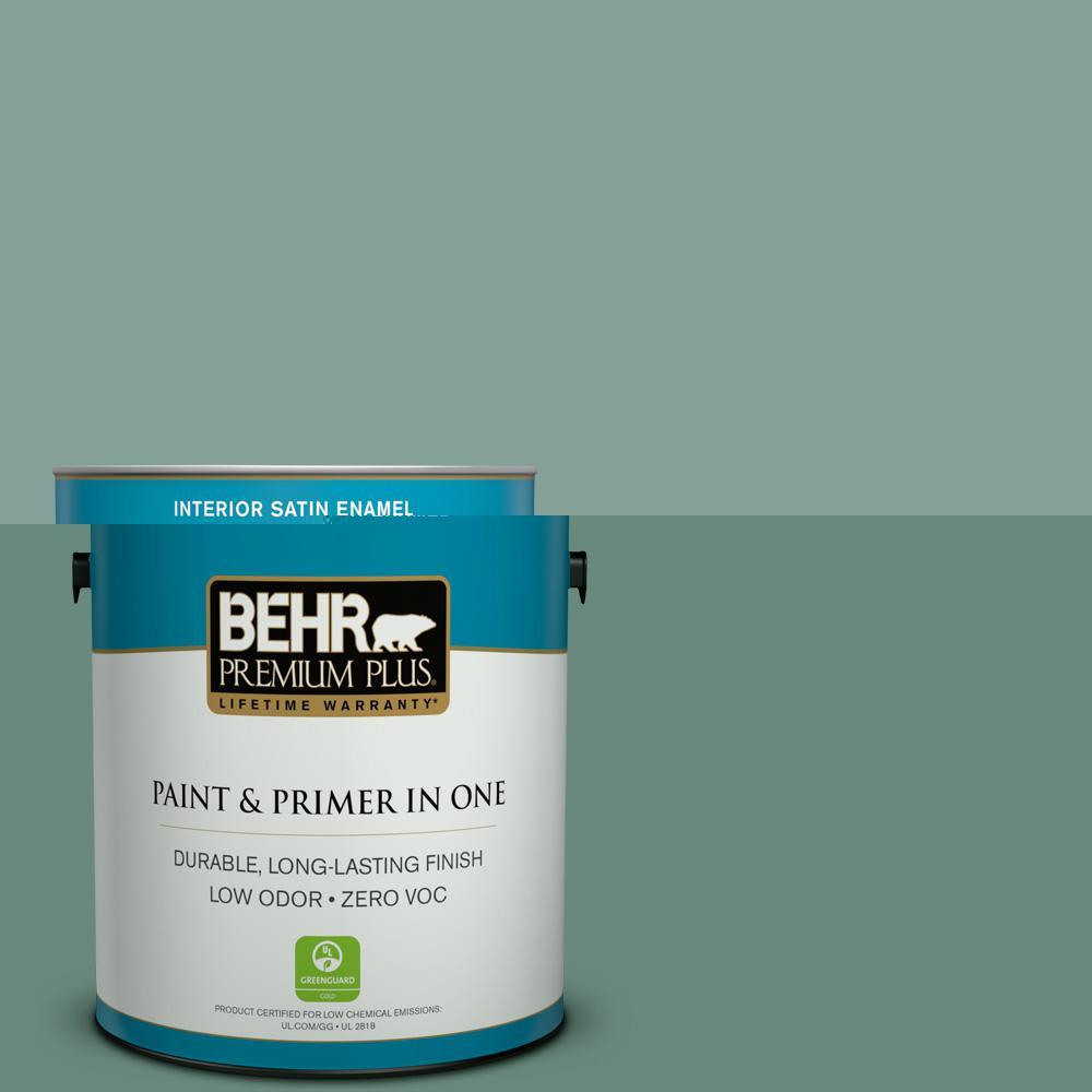 Behr Premium Plus 1 Gal 480f 4 Mermaid Net Satin Enamel Zero Voc Interior Paint And Primer In