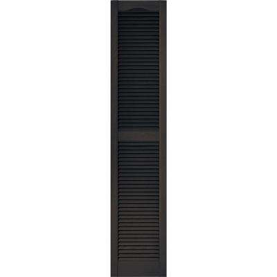 15 in. x 72 in. Louvered Vinyl Exterior Shutters Pair in #010 Musket Brown