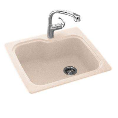 Drop-In/Undermount Solid Surface 25 in. 1-Hole Single Bowl Kitchen Sink in Tahiti Sand