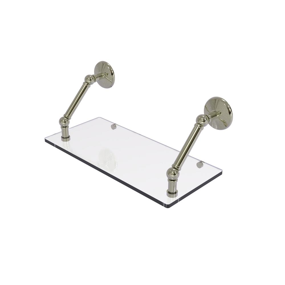 Allied Brass Prestige Monte Carlo Collection 18 in. Floating Glass Shelf in Polished Nickel