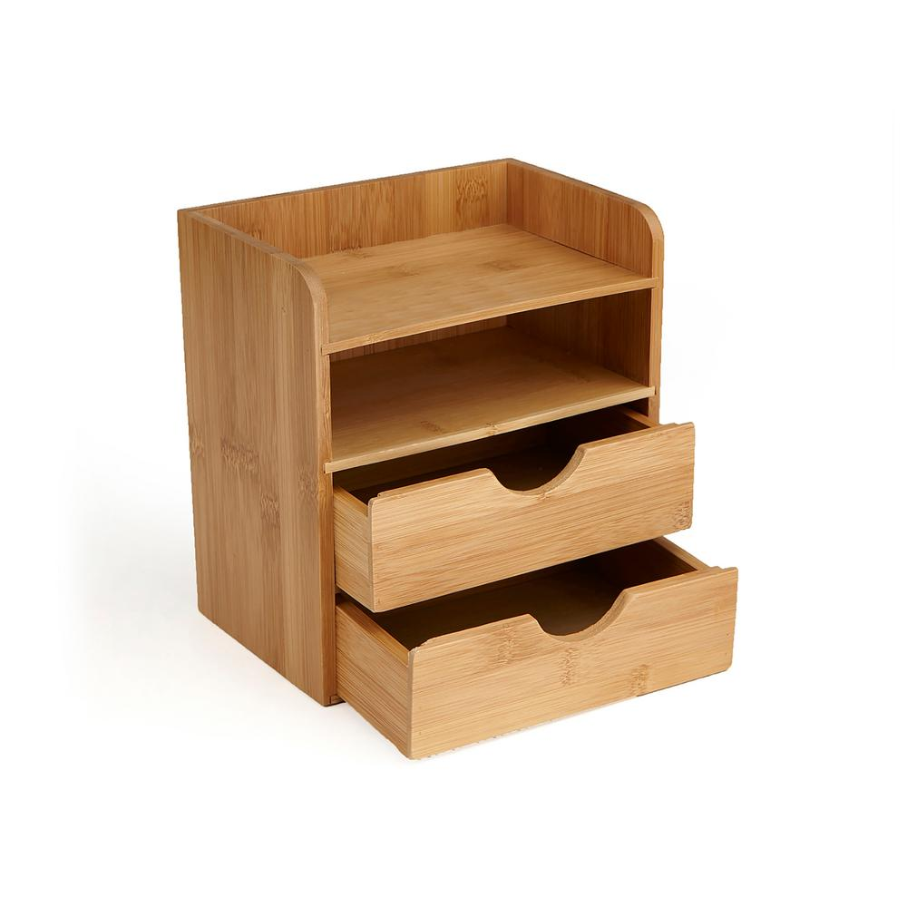 Mind Reader Bamboo Eco Friendly 4 Tier Desk Organizer With 2 Drawers