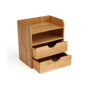 desk organizer with drawers mind reader bamboo eco friendly 4 tier desk organizer with 14686