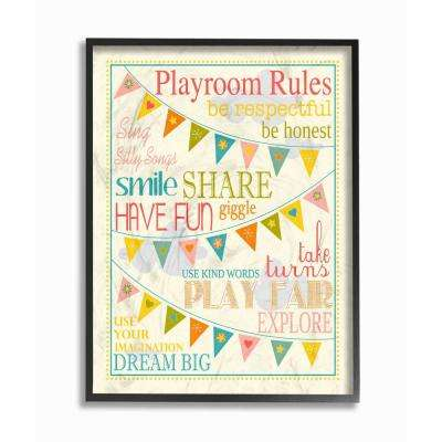 """11 in. x 14 in. """"Playroom Rules With Pennants In Pink"""" by Karen Zukowski (Finny And Zook) Wood Framed Wall Art"""