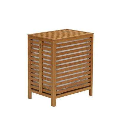 Natural Bamboo Laundry Hamper with a Hinged Lid