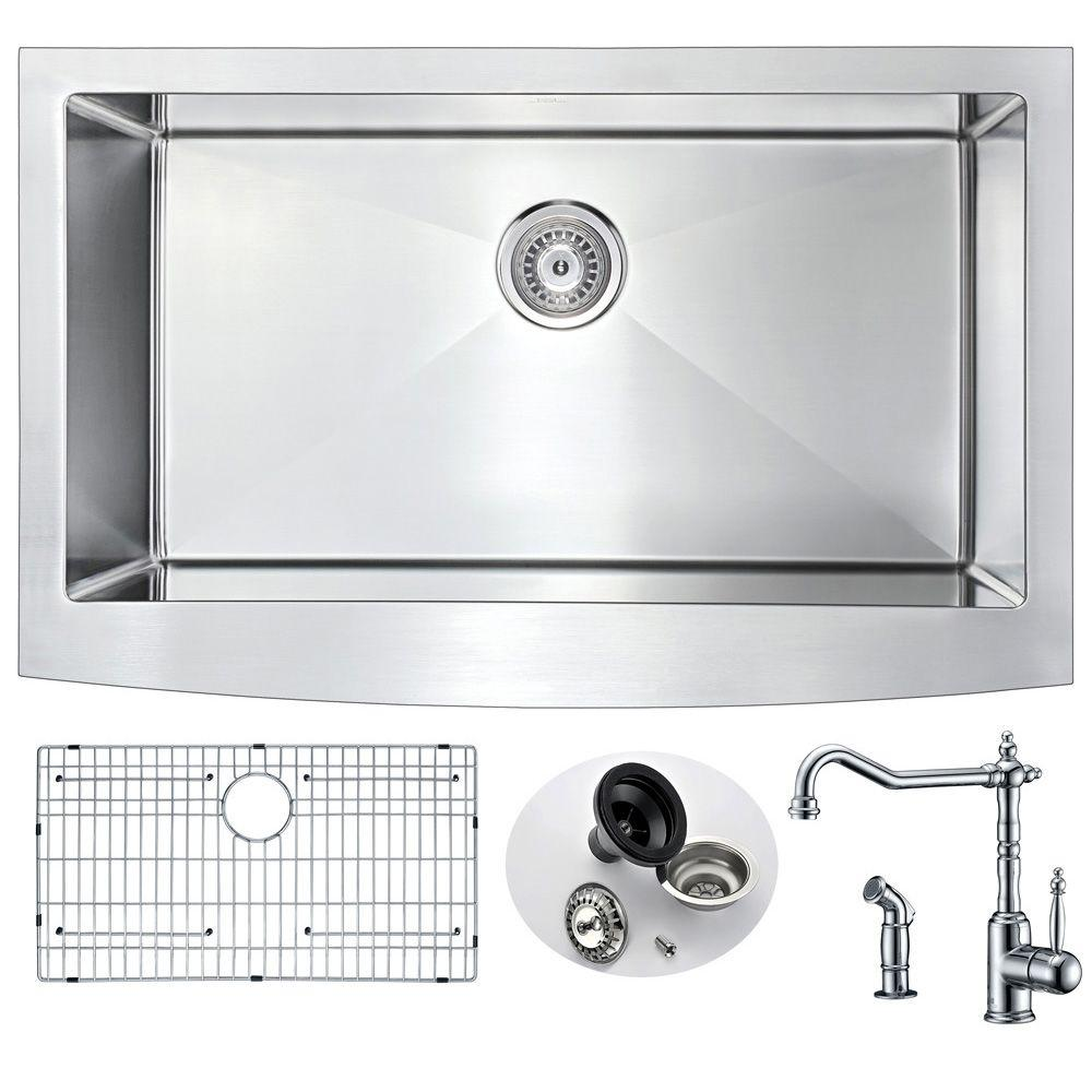 ANZZI ELYSIAN Farmhouse Stainless Steel 36 in. 0-Hole Kitchen Sink on dirty sink, sottini vanity and sink, flushing sink, under kitchen windows, inlet valve sink, top mount sink, cactus sink, pharmacy sink, under kitchen floor, car sink, under kitchen counter, beat up sink, under kitchen backsplash, under kitchen storage, under kitchen cabinets, under kitchen table, train sink, ceramic sink, under kitchen lights, black acrylic sink,