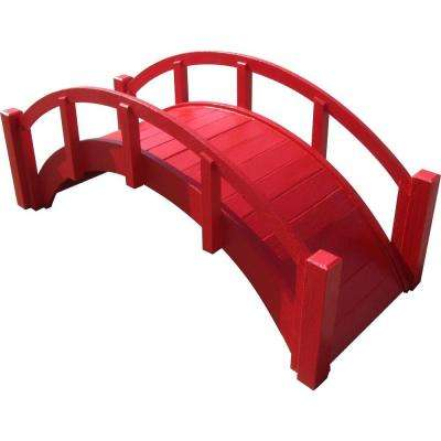 29 in. Miniature Japanese Wood Garden Bridge in Red