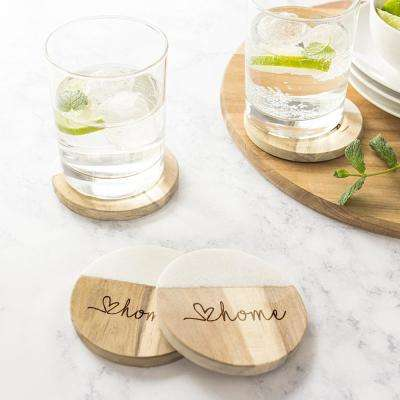 Love Home Marble and Acacia Wood Coasters (Set of 4)