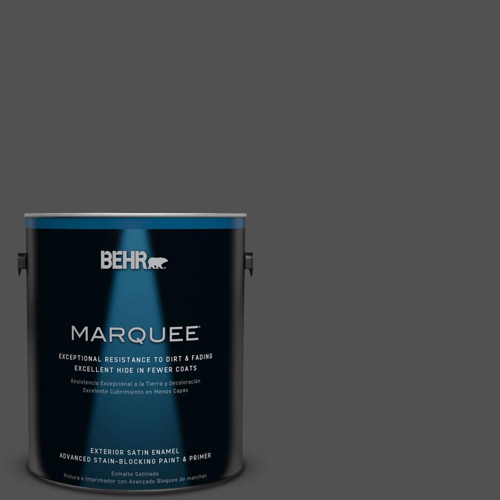 BEHR MARQUEE 1-gal. #N460-7 Space Black Satin Enamel Exterior Paint