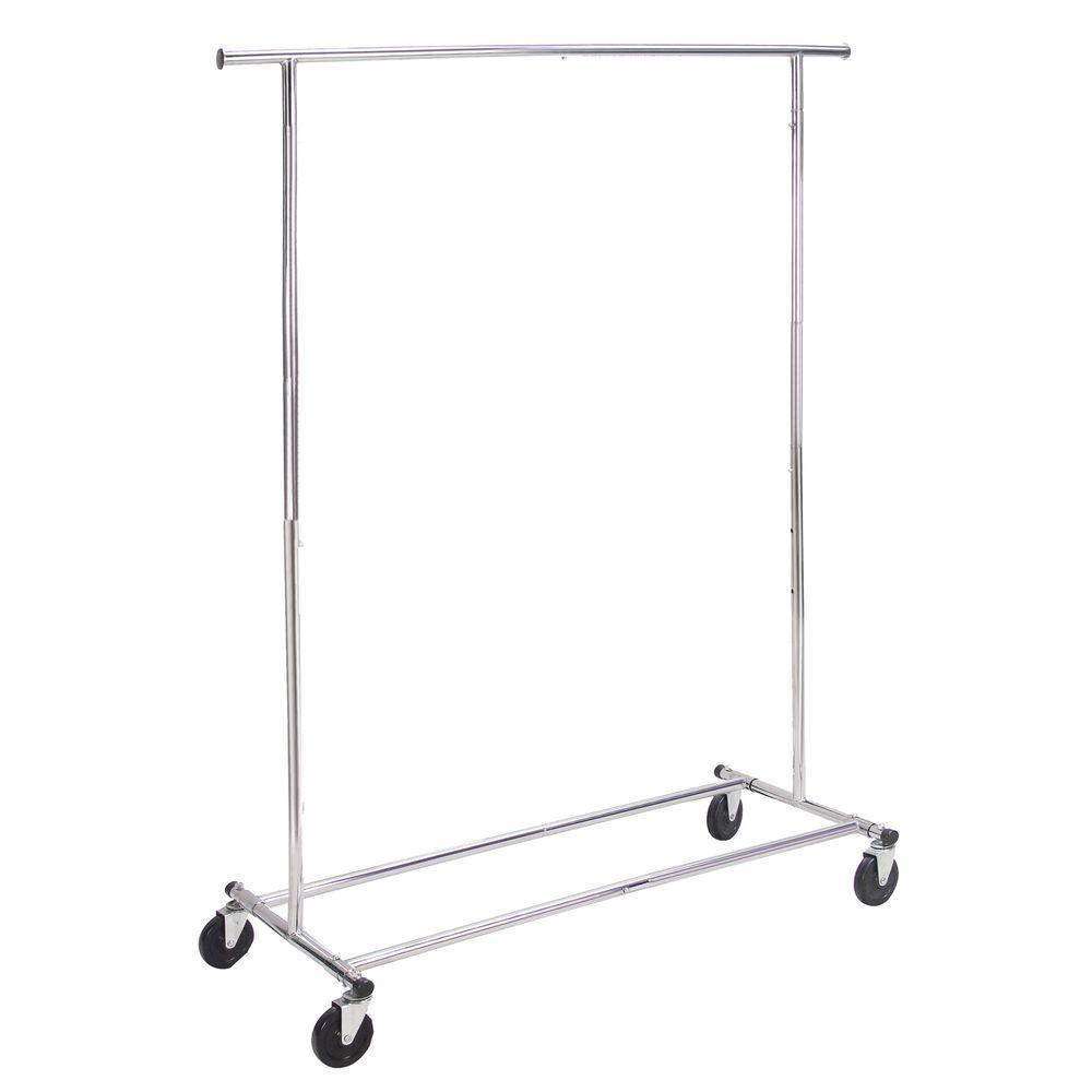 50 in.x 57 in. Chrome Commercial Extendable/Folding Garment Rack