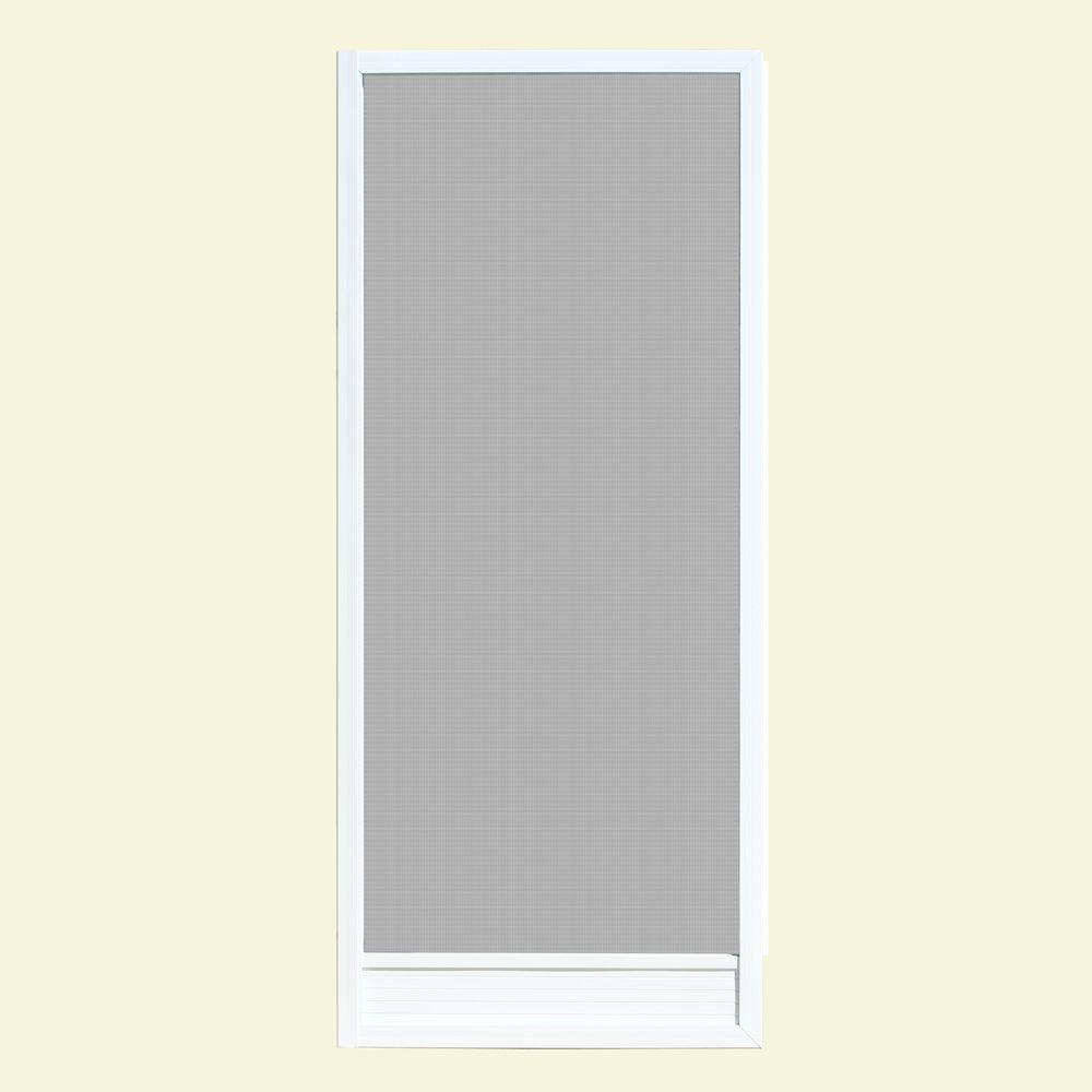 Unique Home Designs 32 in. x 80 in. Delray White Outswing Metal Hinged Screen Door