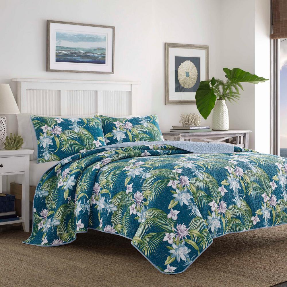 Southern Breeze Indigo 3-Piece Blue Cotton King Quilt Set