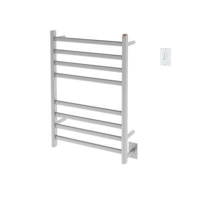 Prima Dual Extended 8-Bar Hardwired and Plug-In Electric Towel Warmer in Brushed Stainless Steel with Countdown Timer