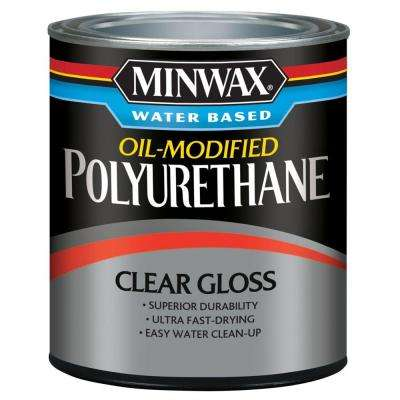 1 qt. Clear Gloss Water Based Oil-Modified Polyurethane (4-Pack)