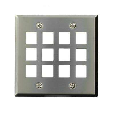 2-Gang Quickport Standard Size 12-Port Wallplate, Stainless Steel