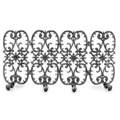 Siena Silver Rub 4-Panel 56 in. W Fireplace Screen