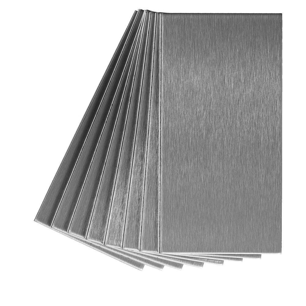 Long Grain 6 in. x 3 in. Brushed Stainless Metal Decorative Tile Backsplash (8-Pack)
