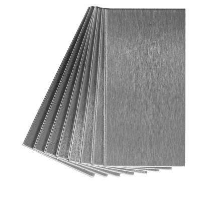 Long Grain 6 in. x 3 in. Brushed Stainless Metal Decorative Tile Backsplash (8-Pack)