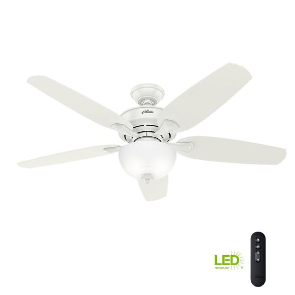 Channing 54 in. LED Indoor Easy Install Fresh White Ceiling Fan with HunterExpress feature set and Remote