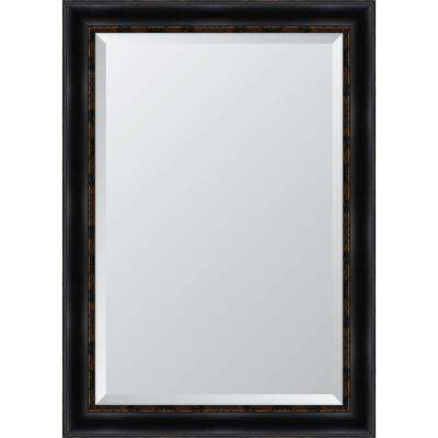 30 in. x 42 in. Black with Gold Emboss Resin Frame Mirror