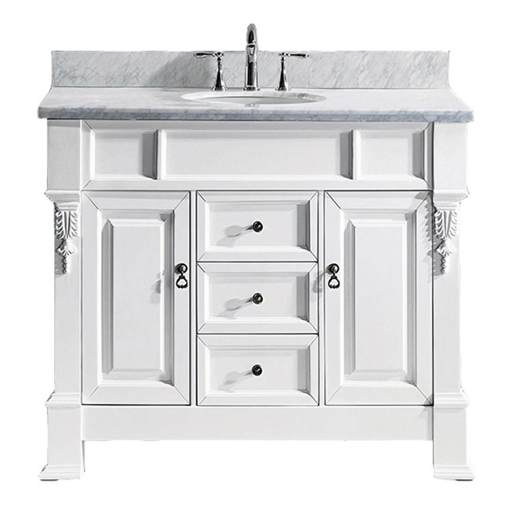 Virtu USA Huntshire 40 in. W Single Bath Vanity in White ...