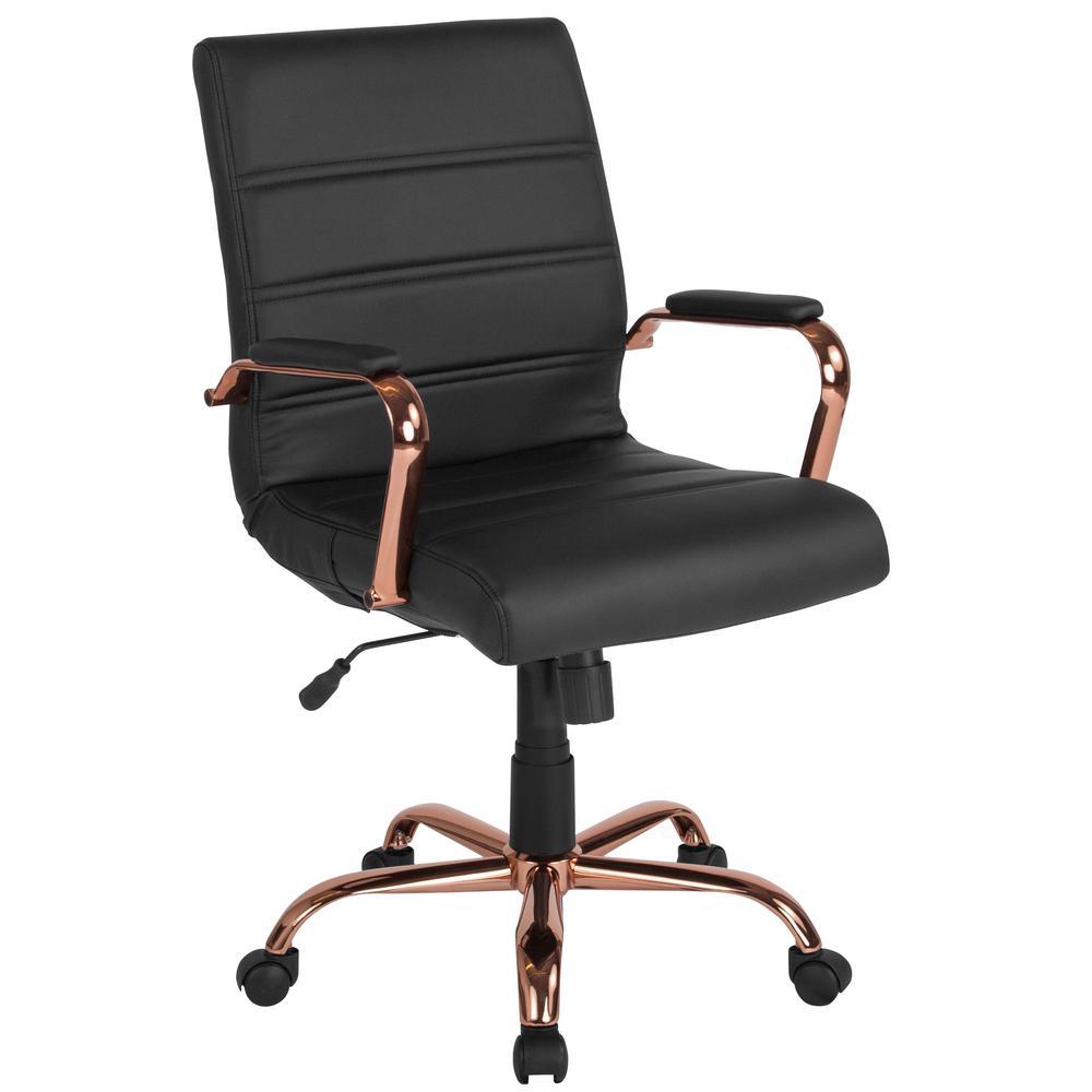 Black Leather/Rose Gold Frame Office/Desk Chair