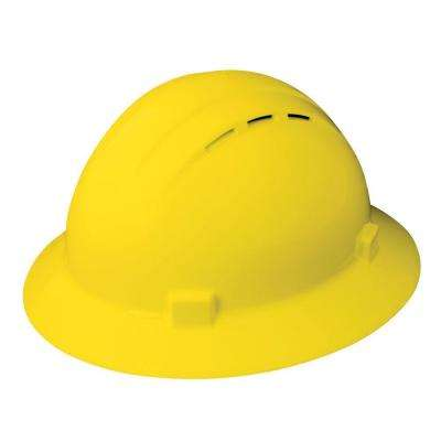 Vent 4 Point Nylon Suspension Slide-Lock Full Brim Hard Hat in Yellow