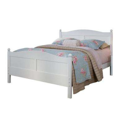 Cottage White Queen Bed with Headboard and Footboard