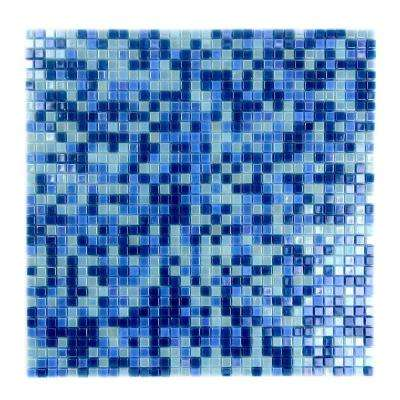 Constellation Blue Green Mix 11.7 in. x 11.7 in. x 3.20 mm Glass Mosaic Tile